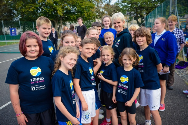 Children in Stornoway on the Isle of Lewis meeting Judy Murray after a taster session of Set4Sport with Tennis on the Road