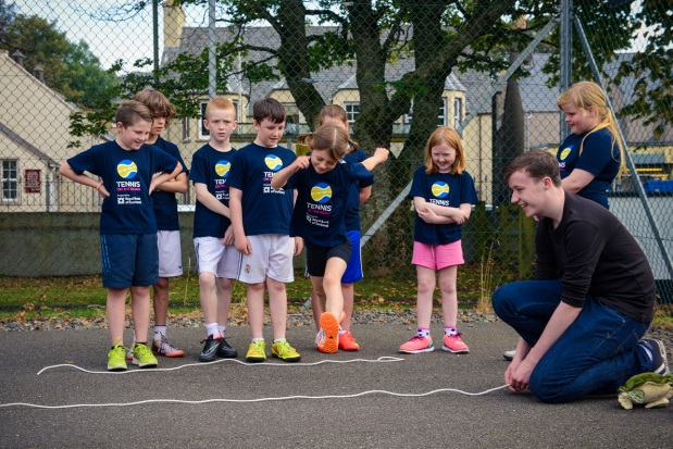 Children in Stornoway on the Isle of Lewis taking part in a taster session of Set4Sport with Tennis on the Road