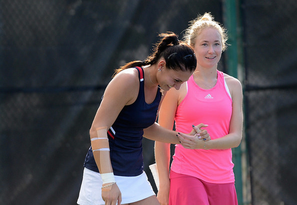 Jaksic shares a laugh with doubles partner Julia Glushko. Photo: Christopher Levy