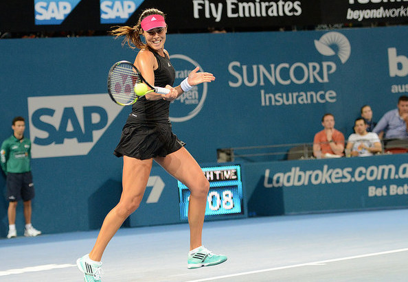 Ivanovic's signature shot helped her through another thrilling three-setter in Brisbane. Photo: Christopher Levy