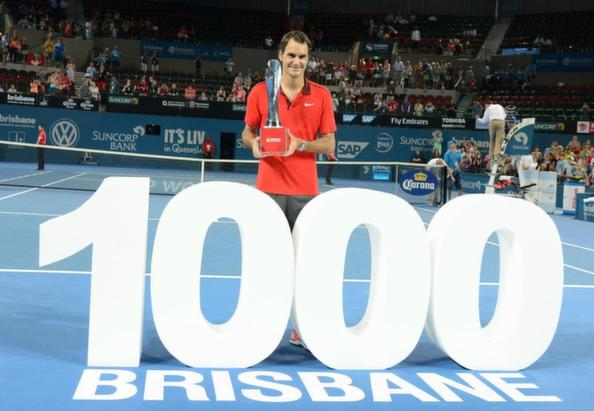 In three sets, Roger Federer takes Brisbane and a 1000th career win. Photo: Christopher Levy