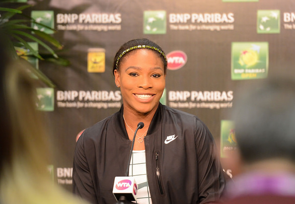Serena Williams charms the press in her first media interaction at Indian Wells since 2001. Photo: Christopher Levy