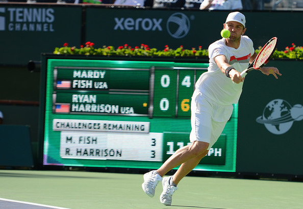 Fish glided into a third set tiebreak with the fast-rising Ryan Harrison in his first match back. Photo: Christopher Levy
