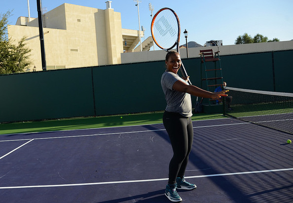 Indian Wells: where even the racquets are bigger - as shown off by Taylor Townsend. Photo: Christopher Levy.
