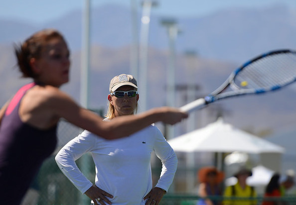 New coach Martina Navratilova was on hand for Radwanska's practice. Photo: Christopher Levy