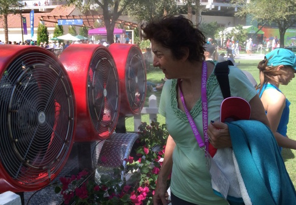Fans tried their best to cool off as the temperature - and the tennis - increased. Photo: Jane Voigt
