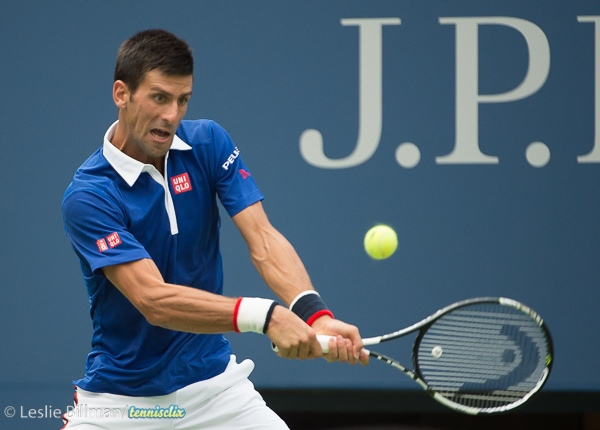 Novak Djokovic (SRB) defeats Joao Sousa (BRA) 6-1, 6-1, 6-1 at the US Open in Flushing, NY on August 31, 2015.