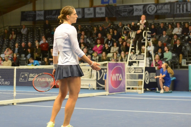 Andrea Petkovic and Tamara Vrhovec disagreed several times over the course of the match. Photo: Christopher Levy.