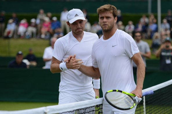 Fratangelo and Harrison at the net. Photo: Christopher Levy